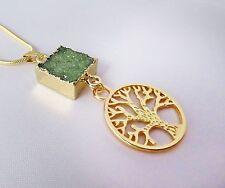 Carré Vert Drusy druzy Agate et arbre de vie Collier. Pagan, WICCAN, Viking