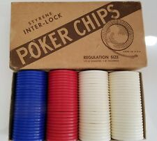 Vintage Styrene Interlock Poker Chips #353 100 Regulation Size Original Box