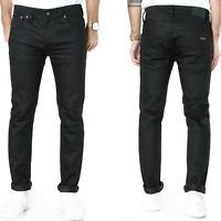 Nudie Herren Slim Skinny Fit Raw Denim Stretch Jeans Hose |Tape Ted Black Ring