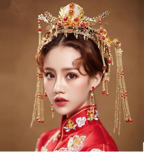 Chinese bride accessories/ancient costume wedding phoenix hair crown headdress.