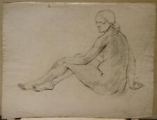 """Dessin Original Fusain  LUC LAFNET (1899-1939) """"Etude de nu féminin"""" LL19"""