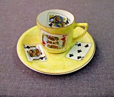 VINTAGE 60'S MADE IN BRAZIL POKER CARDS REAL PORCELAIN COFFEE CUP & SAUCERS #2