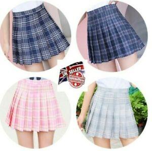 Women Skirt Girls High-waist Pleated Zip Tennis Skirts Skater Casual Mini Shorts