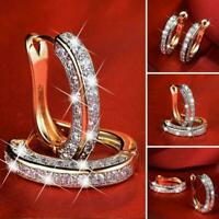 Eleganter dreiseitiger Diamant aus 925er Silber mit für Damen Strass-Ohrcli N7X6