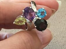 Multi Gemstone Ring Set in Sterling Silver 925 sizes 9 and 10