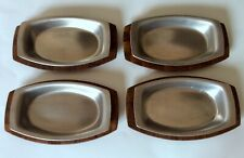 "Set Of 4 Weavewood Sizzler 11"" Walnut Trays With Stainless Steel Plates"