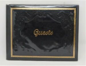 NEW/SEALED - Fiorentina Black and Gold Embossed Italian Leather Guest Book