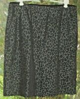 Willi Smith Size 10 Lovely Rayon Blend Black Brown and Gray Leopard Print Skirt