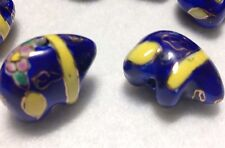 Blue Porcelain Hand Painted Bear Beads, 5 Pack, 17x22x12mm Thick, China