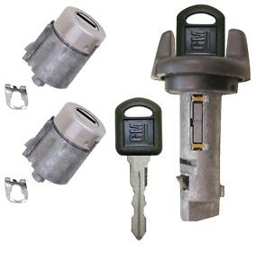 GM OEM Ignition Key Switch Lock Cylinder & Door Lock Tumbler Set 2 GM Keys