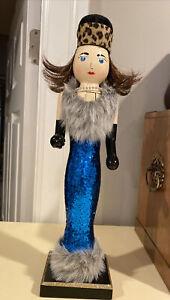 """Christmas Nutcracker Wooden 14"""" Glamour Girl Diva Blue Glitter Dress"""