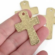 "2 MATTE Gold Cross Pendant Charms, Hammered Metal, large 1-3/4"" long chs3745"