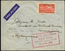LETTRE COVER N°114 1ER VOL FIRST FLIGHT AIR FRANCE REUNION MADAGASCAR 1938