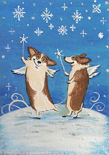 5X7 Print Of Folk Art Xmas Painting Ryta Pembroke Welsh Corgi Whimsical Angel
