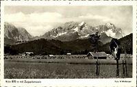 Krün Oberbayern Ansichtskarte 1969 gelaufen Panorama Wegekreuz mit Zugspitze