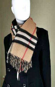 NWT Burberry Classic Check/Gray Double-Sided Cashmere Scarf, Scotland