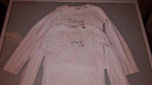Lot 2 TEE SHIRTS T-SHIRTS blanc fille 8 ans OKAIDI TRES BON ETAT