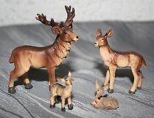 Tierfiguren Hirsch-/Rehfamilie 4erSet  1,9 cm-6,5 cm h Krippenzubehör Dekoration