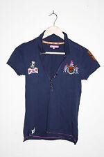 Henleys Woman's Fashion Designer Polo Shirt Buttoned Navy Blue Cotton Size 1