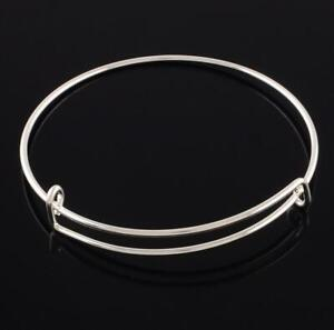 5 EXPANDABLE CHARM BANGLE BRACELETS 70mm SILVER PLATED TOP QUALITY AD7