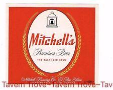 1950s TEXAS El Paso MITCHELL'S PREMIUM BEER 12oz Label Tavern Trove