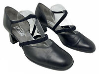 Gabor Black Real Leather Work Smart High-Heel Block Elastic Court Shoes (7 UK)