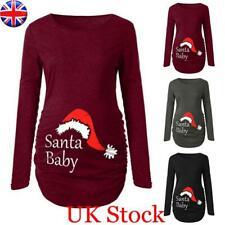UK Womens Christmas Print Maternity Tops Pregnant Long Sleeve Xmas Blouse Jumper