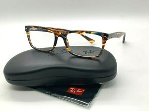 NEW RAY BAN EYEGLASSES RB 5287 5711 STRIPPED BROWN BLUE 52-18-140MM /CASE