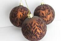 Gisela Graham Weihnachten Matte Schokolade mit Flock Blätter Glas Spielerei x 3