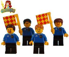 LEGO Soccer Football PRO MLS Referee in Blue X 4 and Flag x 2 Custom Minifigure