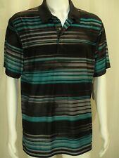 Grand Slam~Nwt $52~Men'S L Black Teal Gray Striped Golf Moisture Wick Polo Shirt