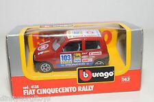 BBURAGO BURAGO 4138 FIAT CINQUECENTO RALLY RED MINT BOXED..