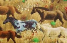 5 Yard Cotton Fabric SALE - Western HORSES Stallions Mares Colts Running Free