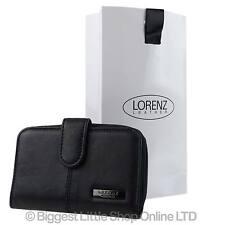 NEW Ladies Black Nappa LEATHER Purse/Wallet by Lorenz Zip Around FREE GIFT BAG