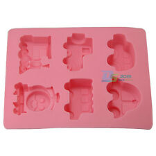 6X Silicone Car Train Ice Cube Tray Mold Cookies Chocolate Soap Baking Mould DIY