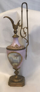 "antique candle holder Porcelain 15 1/2"" Tall"