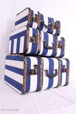 VINTAGE! Set 3 Oldtimerkoffer Koffer blau gestreift Holzlatten Eisenbeschläge