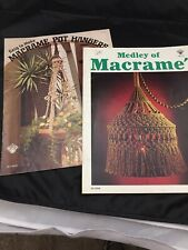 4 Vtg Macrame Books,& 4 Project Sheets,& Afghan Pattern Sheet,owls,pot holders