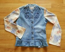 Wrangler High Quality Jean Western Womens Embroidered Top Small W Floral Sleeves