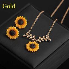 3x Oro exquisito / oro rosa / cadena de plata Collar de girasol y pendientes ES