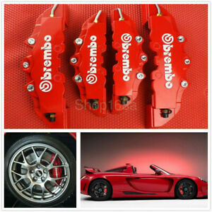 4pcs Front & Rear Universal Red 3D Brembo Style Car Disc Brake Caliper Covers