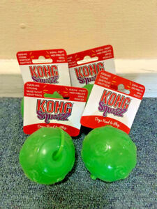 Kong Squeezz Squeaks Assorted Dog Balls Toys Green Medium x4