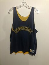 Vintage Converse Spell Out Blue & Yellow Mesh Basketball Jersey L Made In Usa