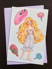 Peppermint Rose Paper Doll Greeting Card, Unused, 1993, American Greets