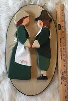 Folk Art Wood Handmade 3D Wall Hanging Plaque Couple Pilgrim Thanksgiving Kit
