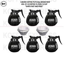 BUNN Coffee Pots 64oz  6 DECANTERS TOTAL  REGULAR &  200 FREE CF12 FILTERS