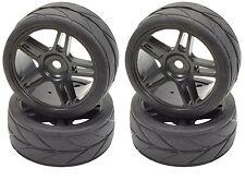 Apex RC Products 1/10 On-Road Black Split 5 Spoke Wheels / V Tread Tires #5001