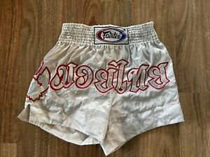 Fairtex Thailand Muay Thai MMA Boxing Shorts White Satin Red Silver Size XL
