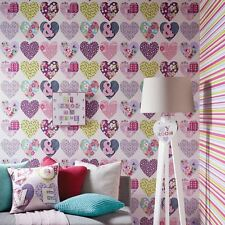 PATCHWORK HEARTS WALLPAPER - PURPLE - ARTHOUSE 668501 NEW