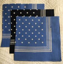 Enormous Handkerchief Men's Spotted Cotton Hankies, Set Of 3, Blue/Navy/Blue